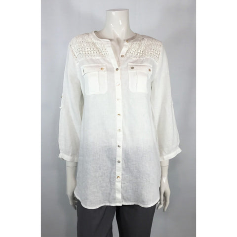 Carole Little Linen Blouse with Lace - Discoveries size S, M