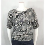 Peter Nygard Silver Print Jersey Blouse - Discoveries size M