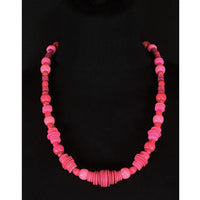 Hot pink wooden bead necklace