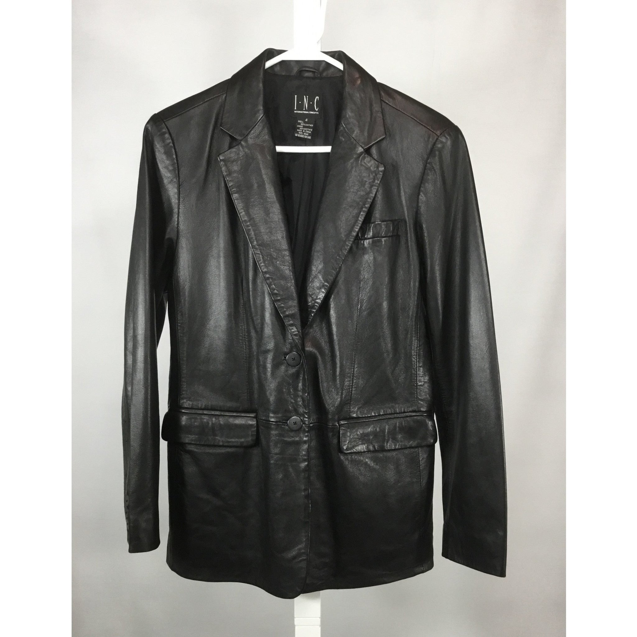 INC leather blazer