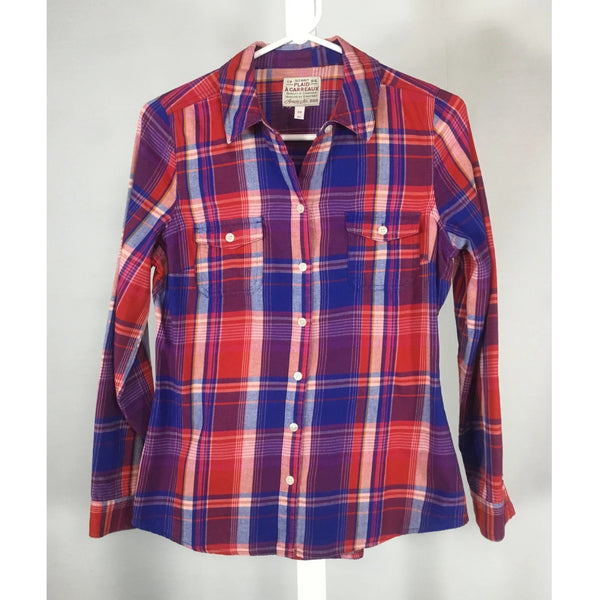 Old Navy red and blue plaid shirt