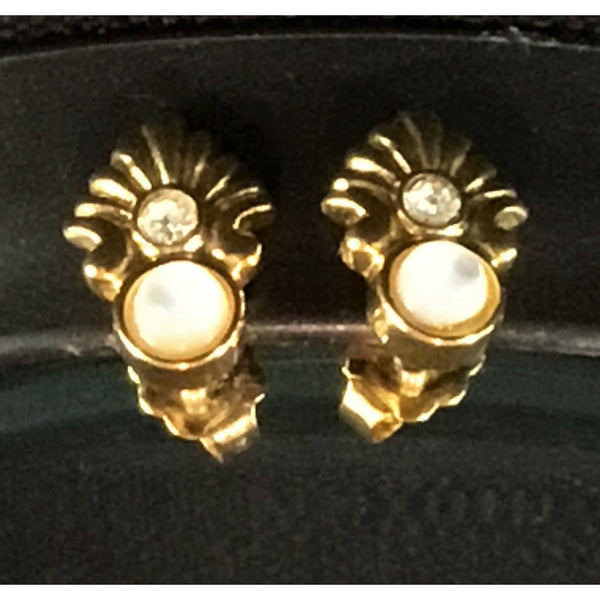Golden Stud Earrings with White Stone and Crystal