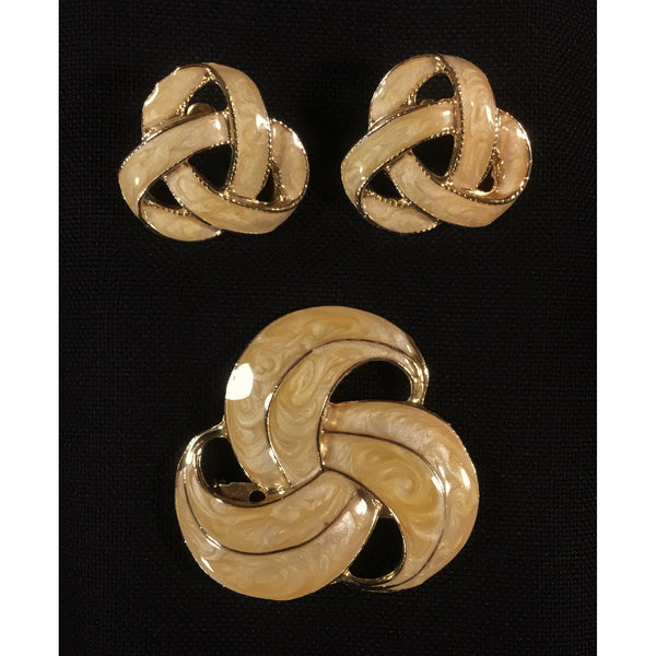 Yellow Tan Swirled Earrings and Brooch Set