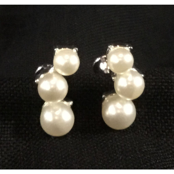 Curved 'Pearls' Screw Back Earrings