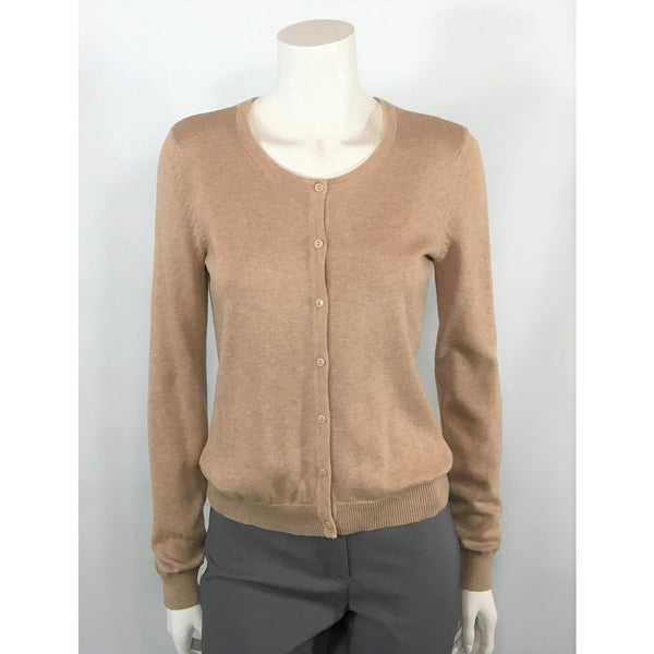 H & M camel button front sweater
