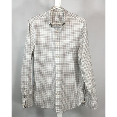 Club Monaco Brown and Blue Mini-Plaid Shirt - size S