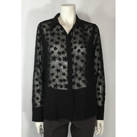 H & M Sheer Black Shirt with Stars - Discoveries size S, M