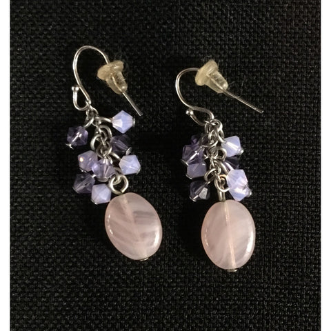 Pale Pink and Lavender Bead Earrings