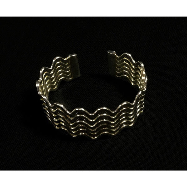 Bright Silver Tone Waves Cuff Bracelet