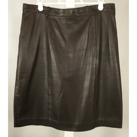 L'Officiel Brown Leather Skirt - Discoveries size M