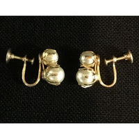 Vintage Style Pearl Screw Back Earrings