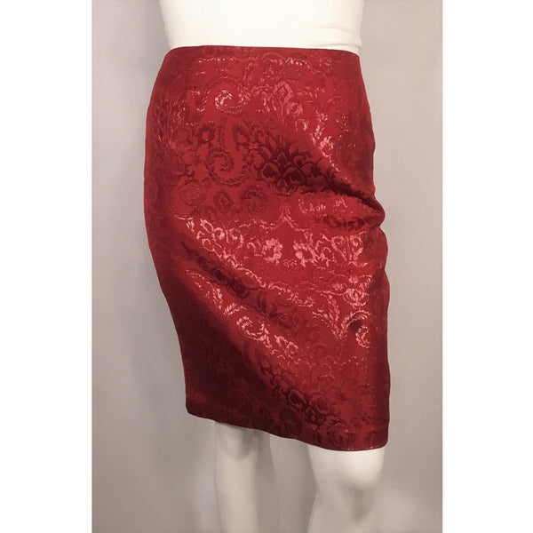 Sunny Leigh Metallic Red Jacquard Pencil Skirt - Discoveries size M