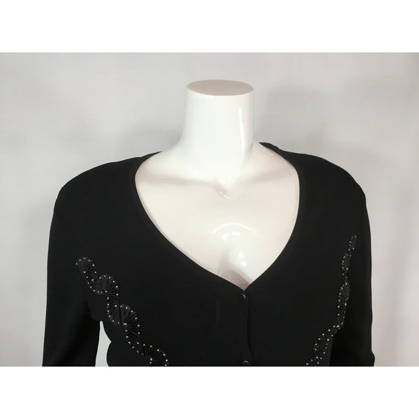 Valenti Black V-Neck with Ribbon and Bead Trim - Discoveries sizes M, L
