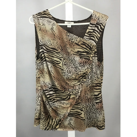 Cato animal print knit blouse