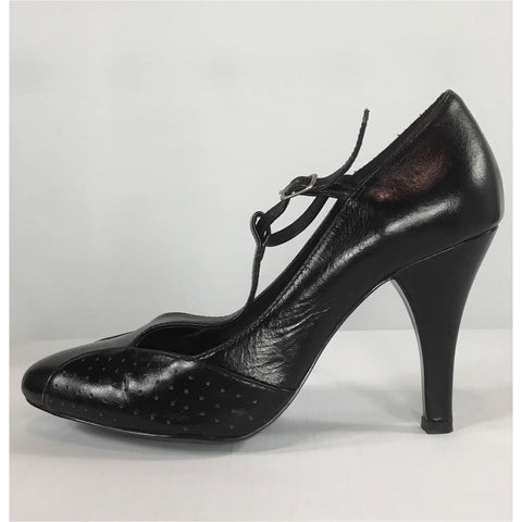 Friis & Company Black Leather Heels - size 37