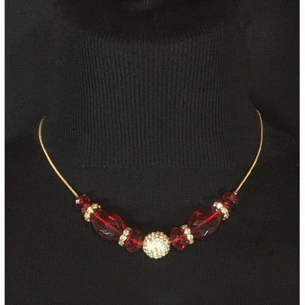 FAux 'ruby and rhinestone' necklace