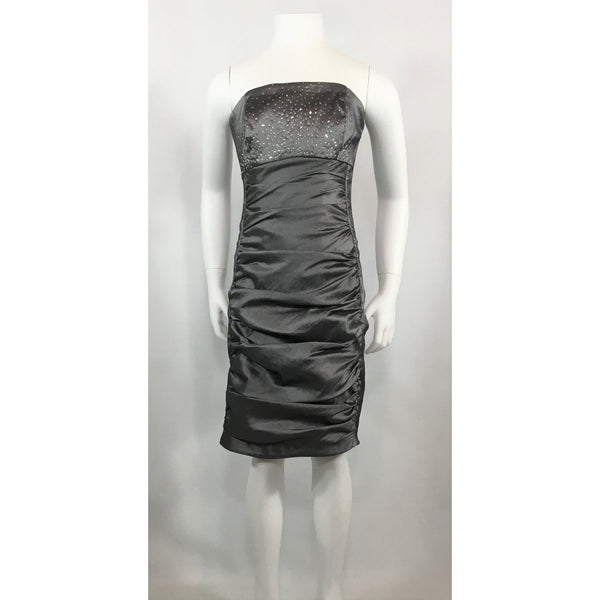 Jessica McClintock Grey Strapless Dress - Discoveries size XS, Youth size L