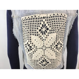 Aeropostale denim vest crochet detail