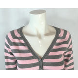 Bluenotes striped cardigan neckline closeup