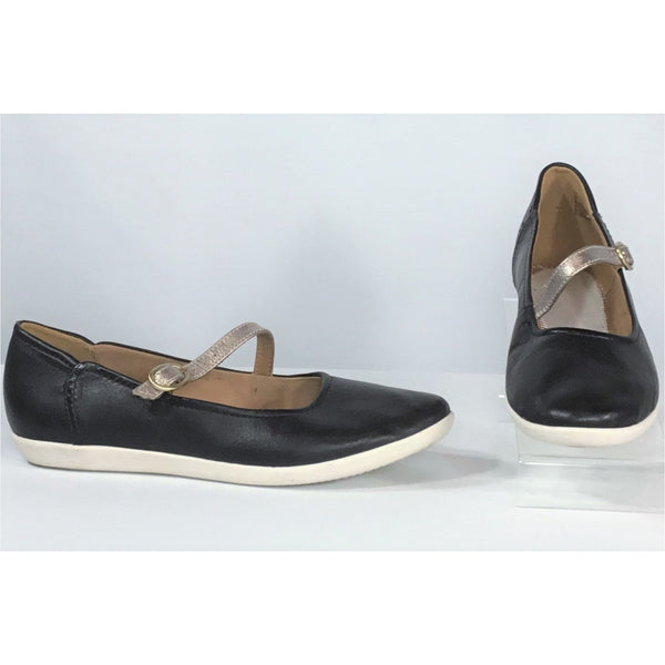 Clark's navy flat shoes with gold strap