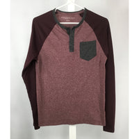 Aeropostale Burgundy and Grey Henley Shirt - size XS, youth size L