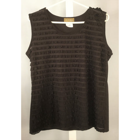 Victoria Brown Ruffle Top - Discoveries size M, L
