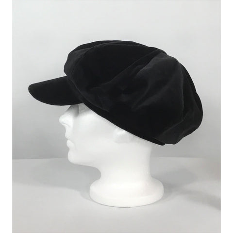 Black Velvet Newsboy Cap