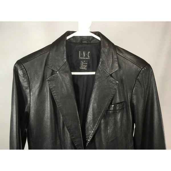 INC leather blazer closeup view