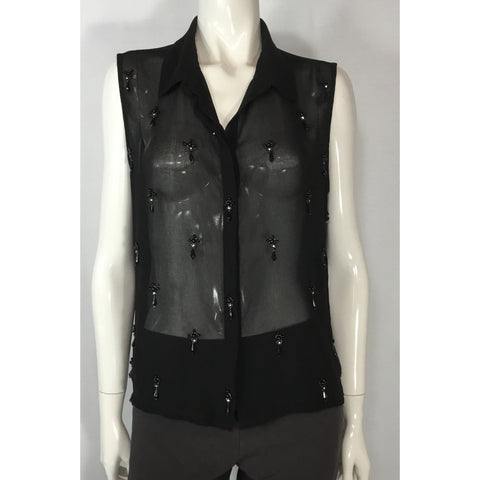 Suzy Shier Sheer Black Beaded Blouse - Discoveries size M