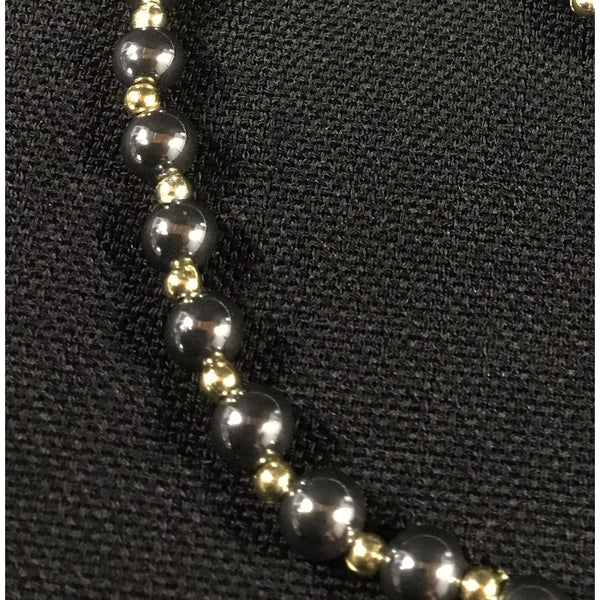 Black 'Pearls' and 'Gold' Beaded Set