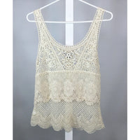 American Eagle crochet lace tank to back view
