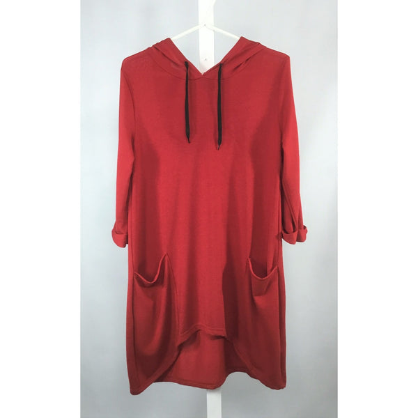 Red hooded high-low tunic