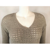 DKNY tan tweed v-neck sweater