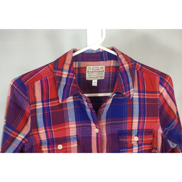 Old Navy Red and Royal Blue Plaid Shirt - Discoveries size S