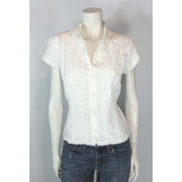 Nygard crinkle and lace blouse