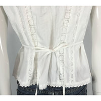 Nygard White Crinkle and Lace Blouse - Discoveries Size M