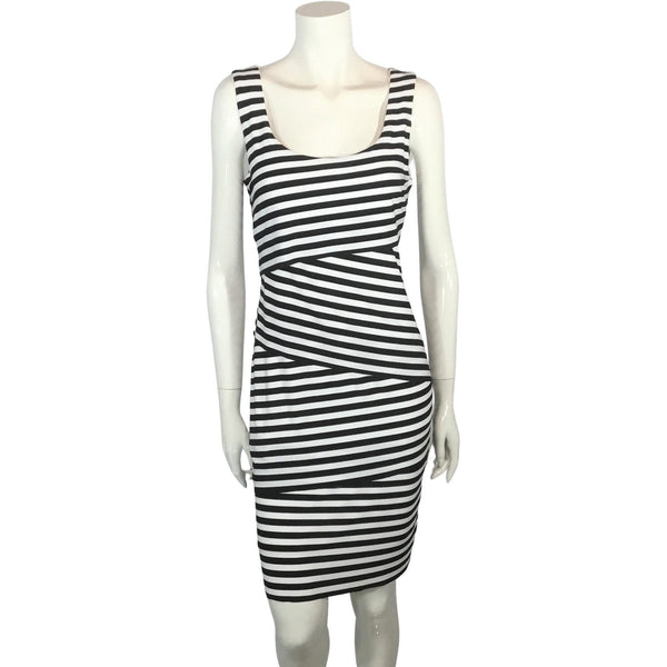 Sophia Christina Black and White Striped Dress - Discoveries size M
