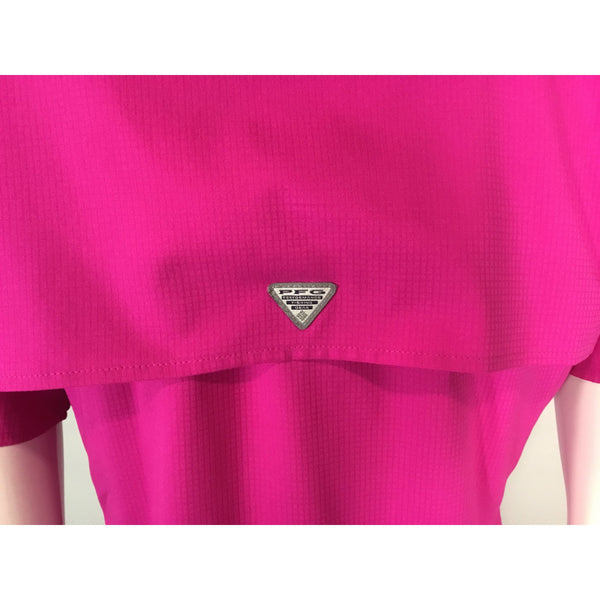 Columbia short sleeve pink shirt back yoke logo