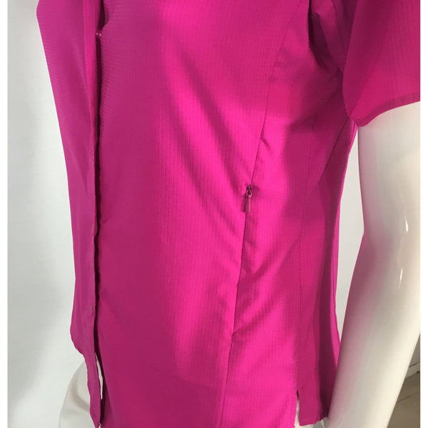 Columbia short sleeve pink shirt pocket detail