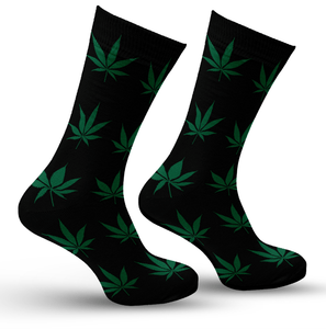 Black & Green Leaf Socks