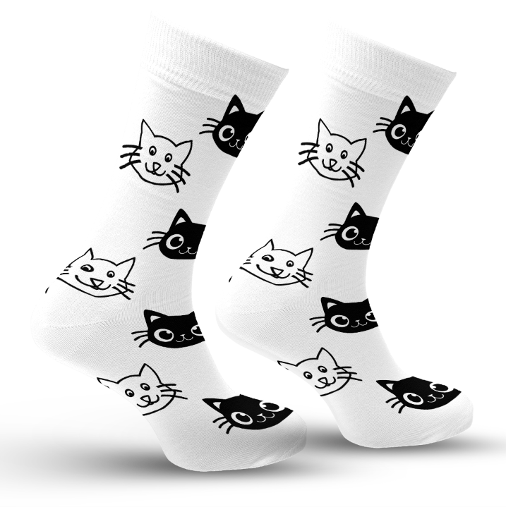 Black & White Cat Socks