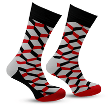 Load image into Gallery viewer, Black & Red Argyle Socks