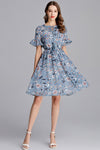 Sky Flowers Chiffon Dress