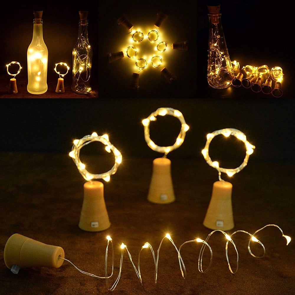 Copper Wire LED String Lights powered by Solar Wine Bottle Cork 10 Pack