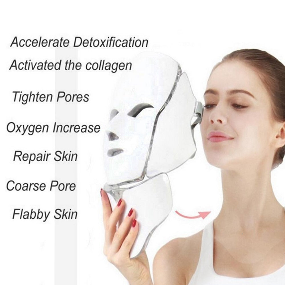 LIGHT Therapy Facial MASK - 7 Color LED Skin Rejuvenation Device