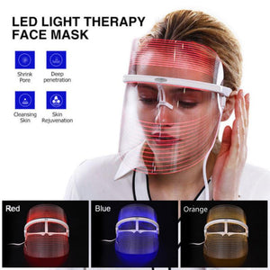 LIGHT Therapy Facial MASK - 3 Color Led Skin Rejuvenation Device