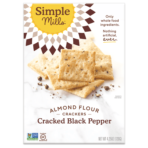Simple Mill Almond Flour Crackers Cracked Black Pepper 4.25oz. - Greenwich Village Farm