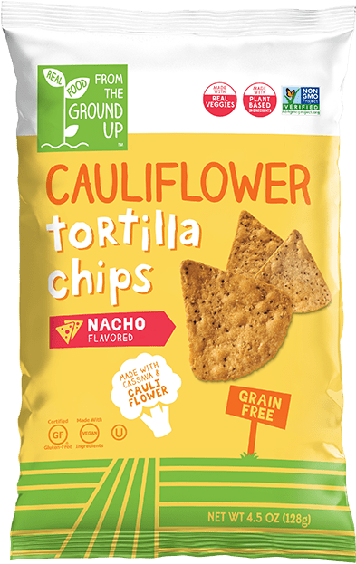 Ground Up Cauliflower Tortilla Chips  Nacho - 4.5 oz. - Greenwich Village Farm