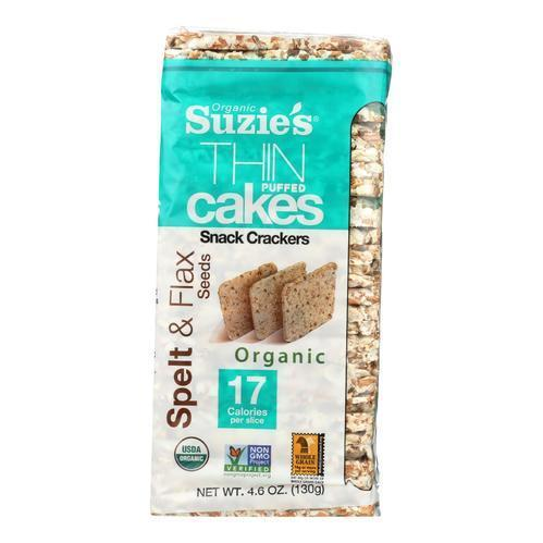 Suzie's Thin Puffed Cakes Spelt & Flax 4.6oz. - Greenwich Village Farm