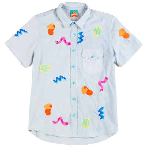 Embroidered Form Button Up Shirt